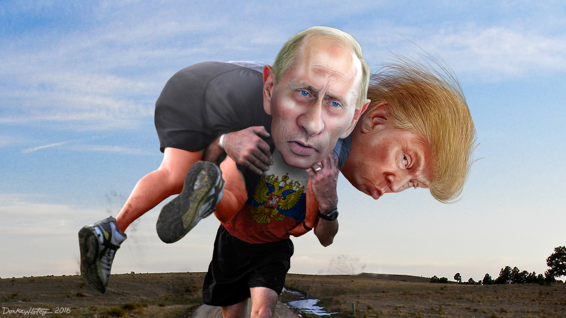 Is Vladimir Putin helping Donald Trump win the race for President of the United States? Credit: DonkeyHotey, https://www.flickr.com/photos/donkeyhotey/28512617446/